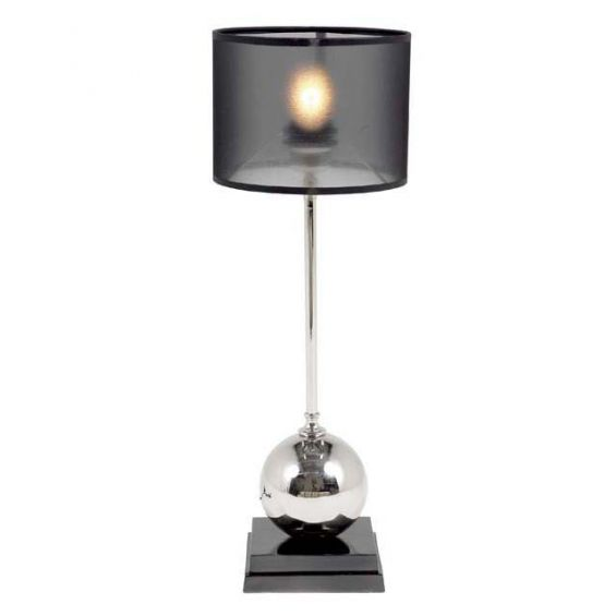 Black base table lamp with nickel ball stem