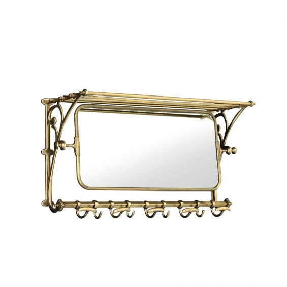 A luxurious vintage-style coatrack with a mirror in antique brass