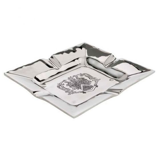 Luxury nickel ashtray with coat of arms engraved design
