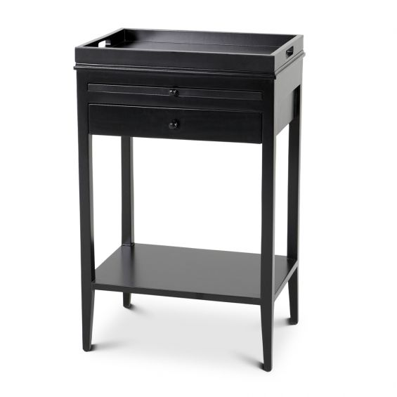 Eichholts contemporary black finished side table with tray and lower shelf