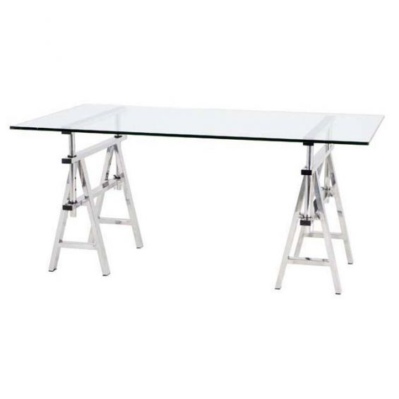 Modern glass top desk with stainless steel legs