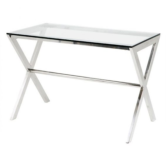 Stainless steel criss cross legged desk with glass top