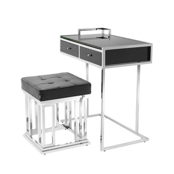 black and silver stool and stool