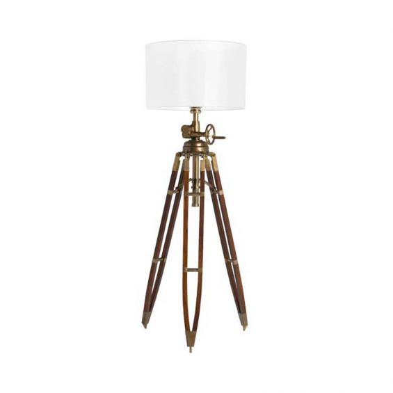 French antique style brown floor lamp with white shade
