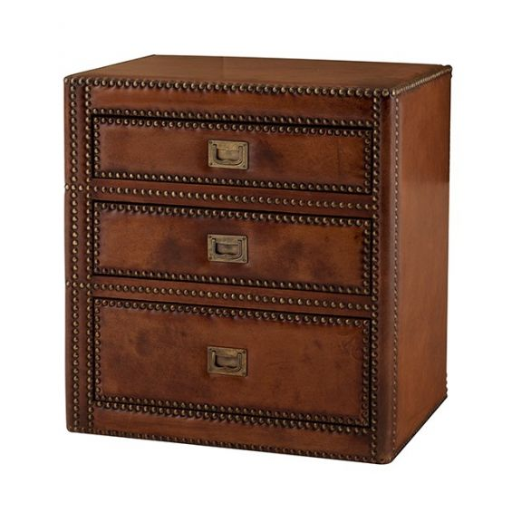 Luxury tobacco leather 3 drawer side table with antique brass handles