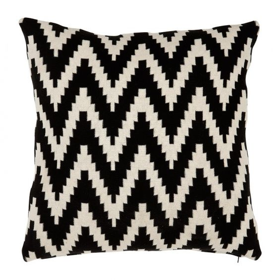 Set of two abstract monochrome black and white cushions