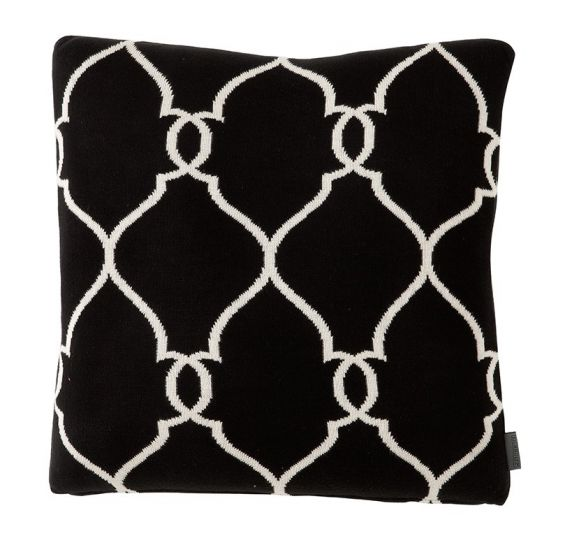 Pair of black and white monochrome cushions