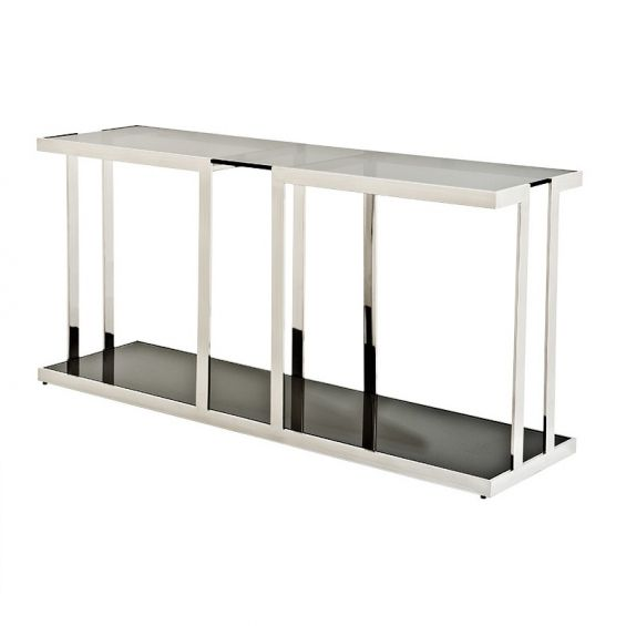 Modern smoked glass top console table with stainless steel base