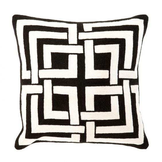 Abstract monochromatic black and white cushion