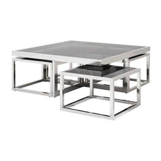 Geometric smoked glass top coffee table with 4 miniature  side tables