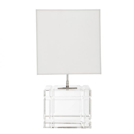 Luxury cubic glass base table lamp with large white shade