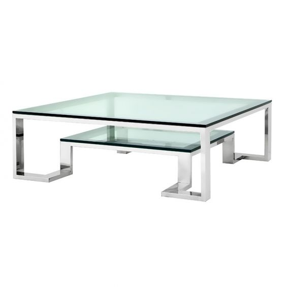 Contemporary glass coffee table with stainless steel frame and small shelf