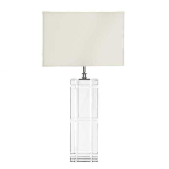 Luxury geometric pattern glass table lamp with off-white shade