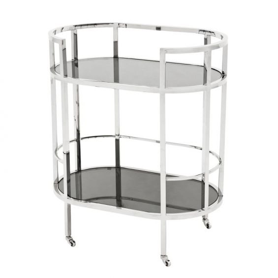 Stainless steel framed drinks trolley with 2 glass shelves