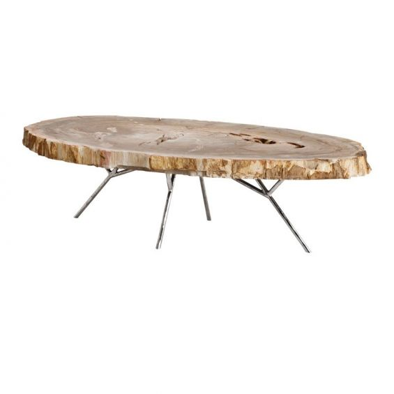 Nature inspired polished stainless steel coffee table with a light wood table top