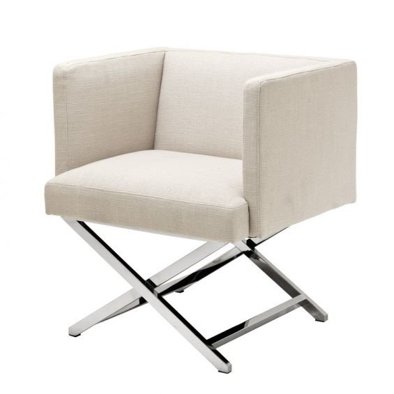 Classic upright natural fabric lounge chair