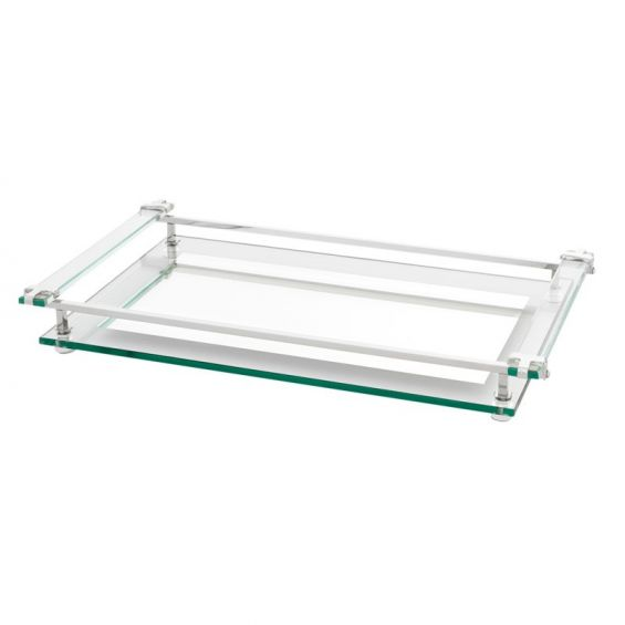 Versatile clear glass serving tray