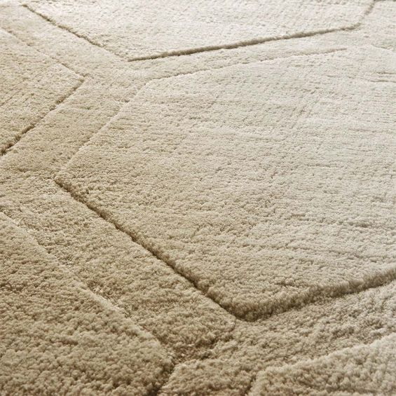 Hand woven rug in a sand finish