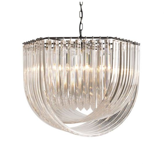 Luxurious acrylic and nickel finish chandelier