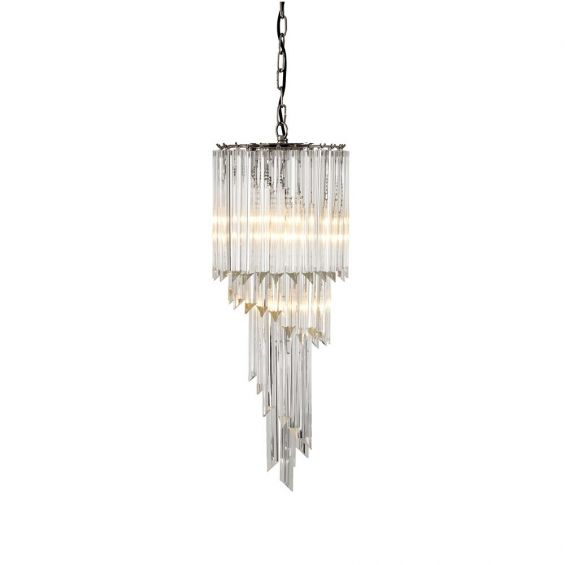 Nickel finished and tapered glass chandelier