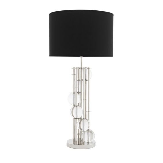 Nickel table lamp with crystal detailing table lamp with black shade