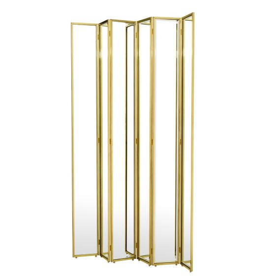Glamorous gold finish folding screen with bevelled mirror glass