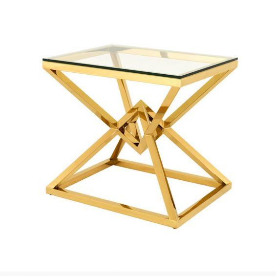 Clear glass top, angular, gold finished side table