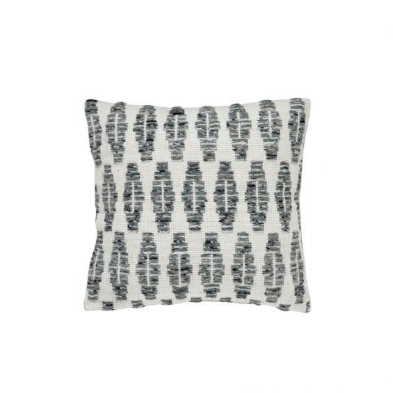 Square, textured graphic cushion in white and grey tones