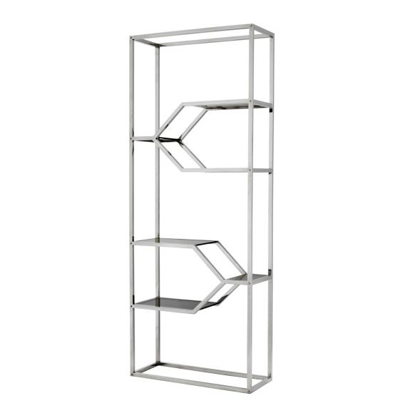 Stylish stainless steel framed cabinet with smoked glass shelves