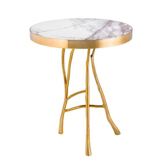 Eichholtz Veritas Side Table - Gold with White Marble