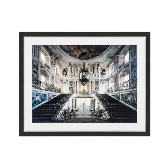 A luxurious print of a magnificent baroque style grand staircase