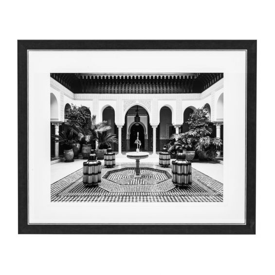 Vintage black and white print of a Marrakech courtyard