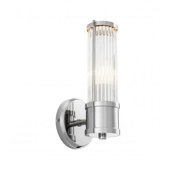 A gorgeous wall lamp with a  finish and clear reeded glass