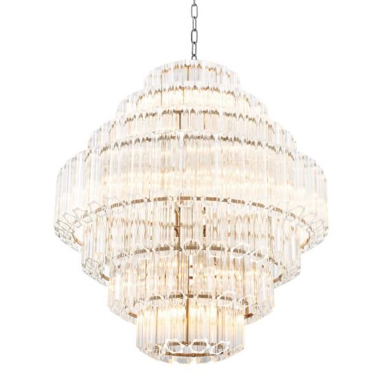 Structural, gold glass tube detail chandelier - Large