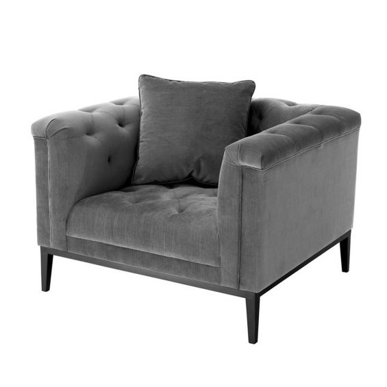 Grey granite buttoned armchair