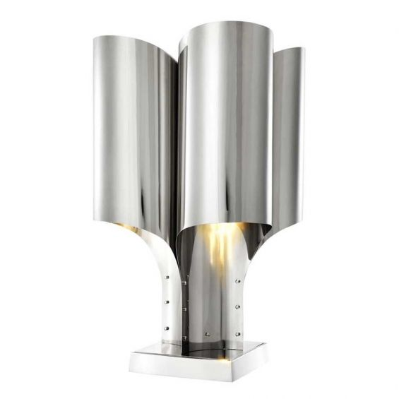 Art deco inspired polished nickel table lamp