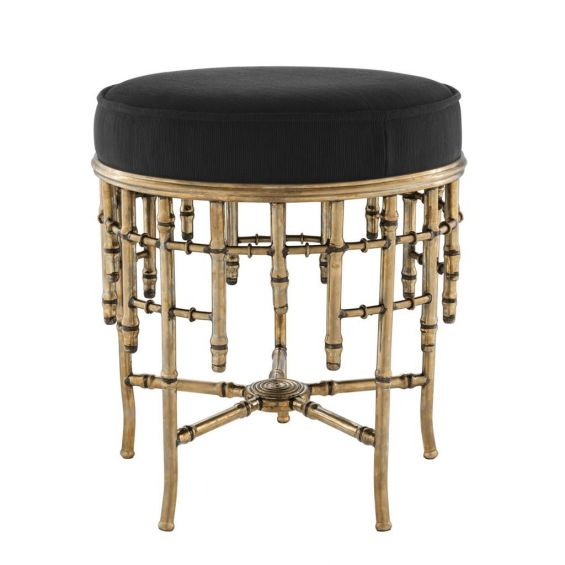 Art deco black seat stool with vintage brass bamboo frame