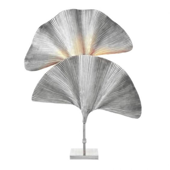 Silver, double palm leaf table lamp