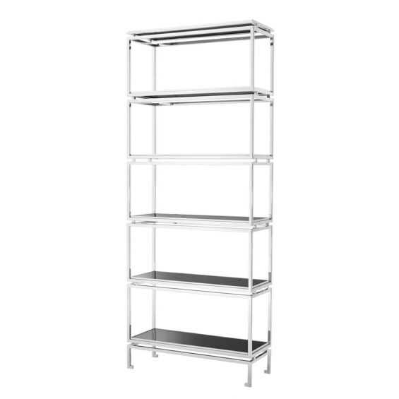 Luxury silver display cabinet with black glass shelves