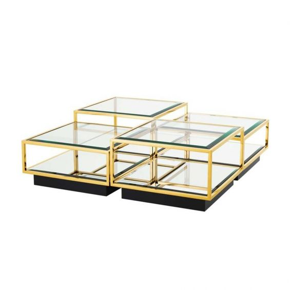 Modern set of 4 cubic style gold coffee tables