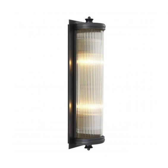 A luxurious matte bronze wall lamp with clear reeded glass