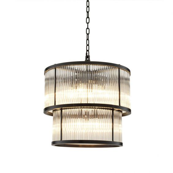 A glamorous statement bronze and glass ceiling lamp