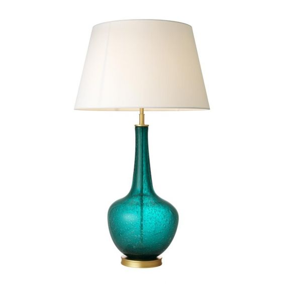 Turquoise glass table lamp with white shade