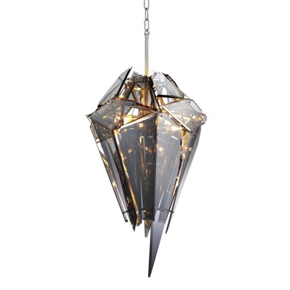 Dramatic, pointed, smoke glass chandelier