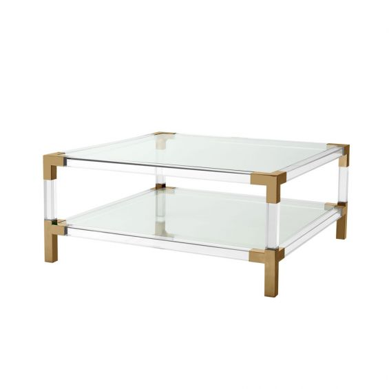 stylish modern bauhaus coffee table with acrylic frame and brushed brass accents