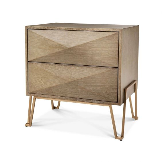 A stunning washed oak bedside table with brushed brass metal legs