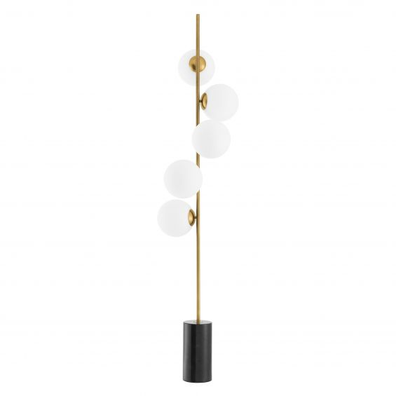 Modern, brass finish floor lamp with 5 glass lampshade detailing and black marble base