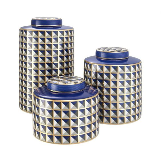 Set of 3 decorative jars in a blue, gold, white and black geometric pattern