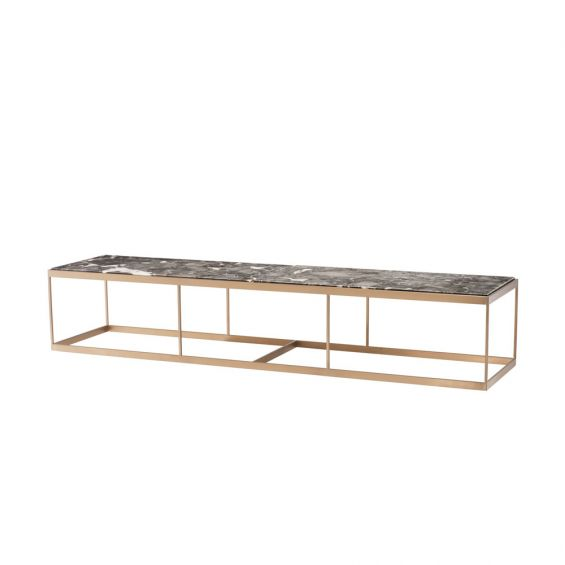 grey marble rectangular table with brass finish metal frame