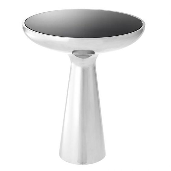 Sleek low silver side table with black glass table top